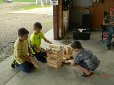 Playing Man-Size Jenga in the Ag Olympics area