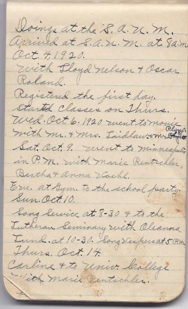 First page of Myrtle's Diary - notice the date