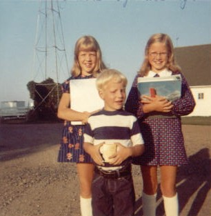 Anita, Jonathan, Sally 1st day of school 1973